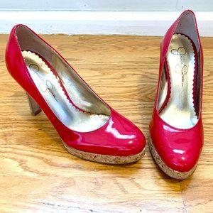 Red Jessica Simpson Cork Heels 5.5